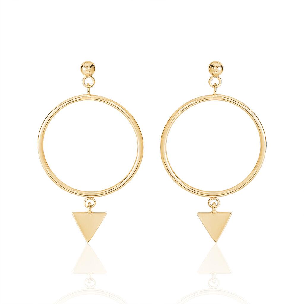 Boucles D'oreilles Pendantes Leanor Plaque Or Jaune - Boucles d'oreilles fantaisie Femme   Histoire d'Or