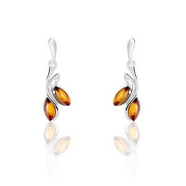 Boucles D'oreilles Pendantes Argent Blanc Pierre De Synthese - Boucles d'oreilles fantaisie Femme | Histoire d'Or