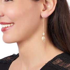 Boucles D'oreilles Pendantes Chrisna Or Jaune - Boucles d'Oreilles Plume Femme | Histoire d'Or