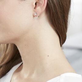 Bijoux D'oreilles Marlene Or Blanc Topaze Et Oxyde De Zirconium - Ear cuffs Femme   Histoire d'Or