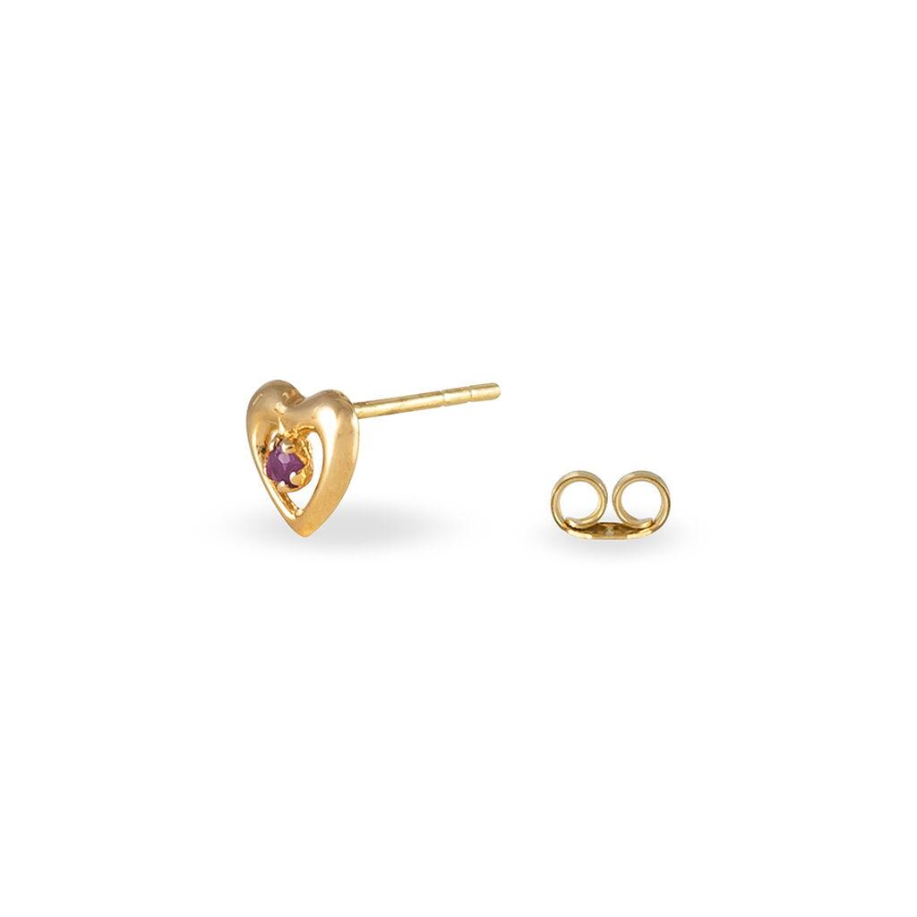Boucles D'oreilles Puces Izild Or Jaune Rubis - Boucles d'Oreilles Coeur Femme   Histoire d'Or