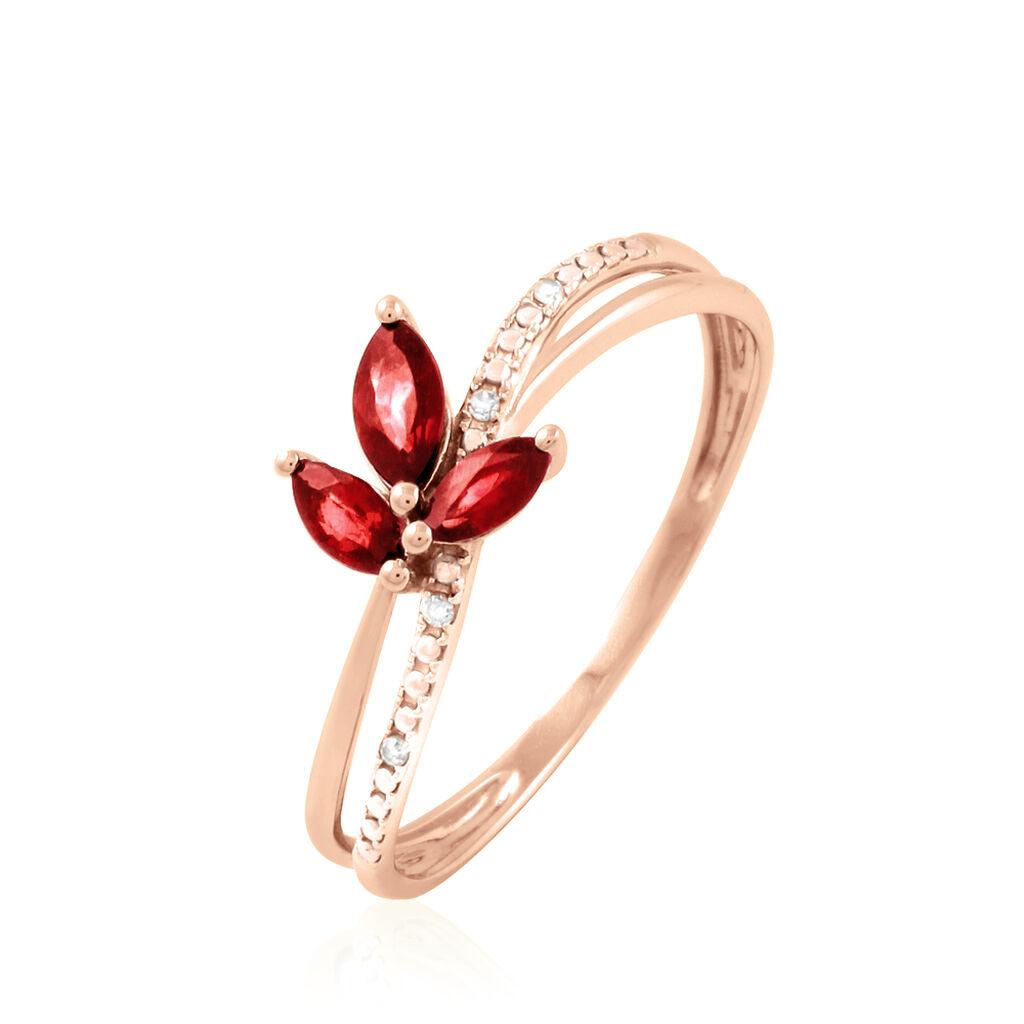 Bague Maura Or Rose Rubis Et Diamant - Bagues avec pierre Femme   Histoire d'Or