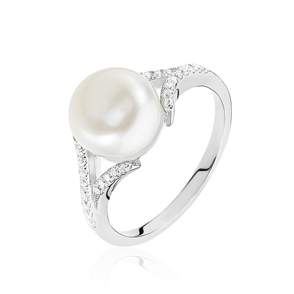 Bague Albine Argent Blanc Perle D'imitation Et Oxyde De Zirconium - Bagues avec pierre Femme | Histoire d'Or