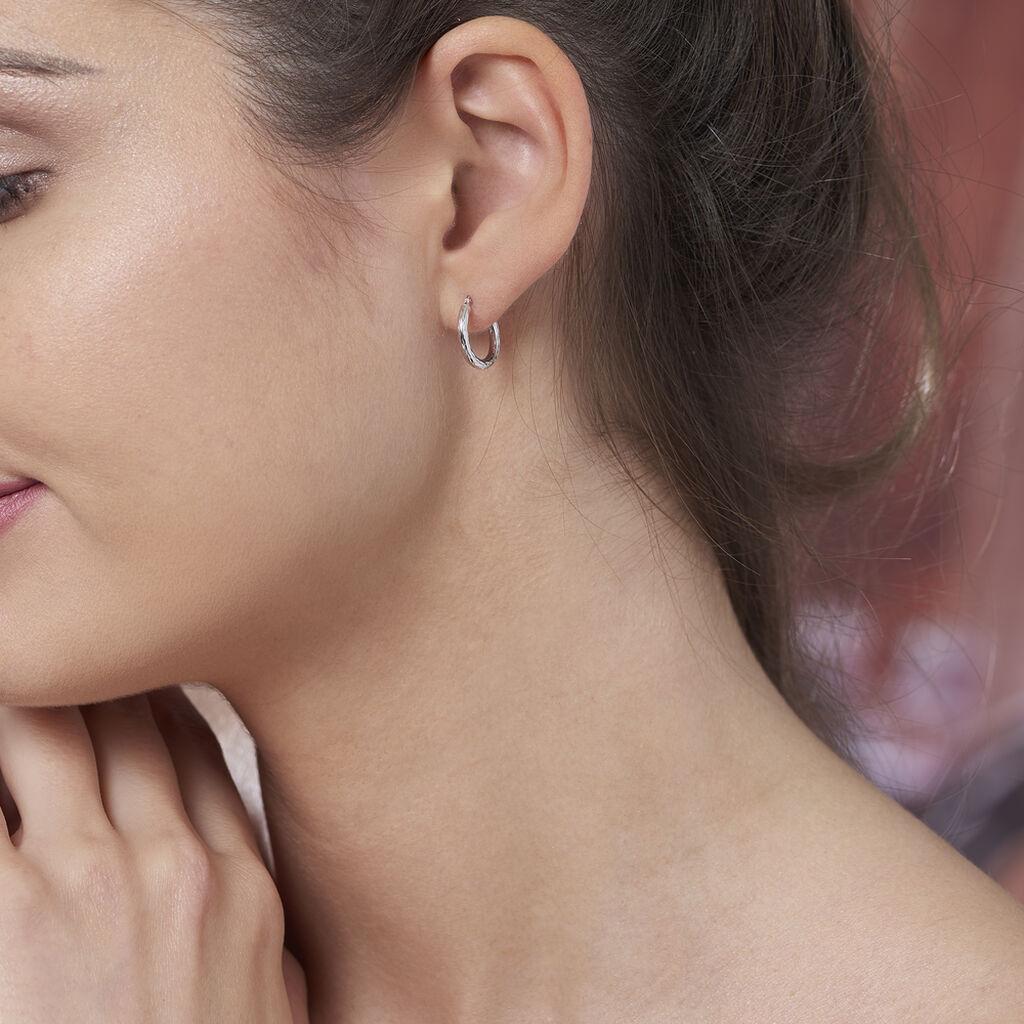 Créoles Cayla Diamantees Fil Rond Or Blanc - Boucles d'oreilles créoles Femme | Histoire d'Or