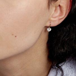 Boucles D'oreilles Pendantes Giuniata Or Jaune Oxyde De Zirconium - Boucles d'Oreilles Coeur Femme | Histoire d'Or