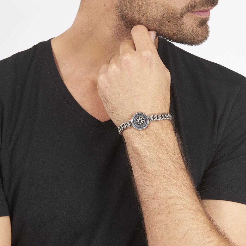 Bracelet Yoan Maille Gourmette Acier Blanc - Bracelets fantaisie Homme   Histoire d'Or