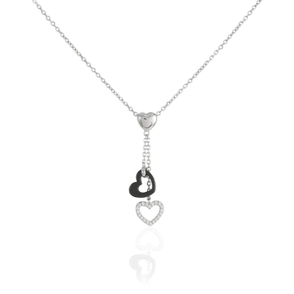 Collier Haydee Argent Blanc Céramique Et Oxyde De Zirconium - Colliers Coeur Femme | Histoire d'Or