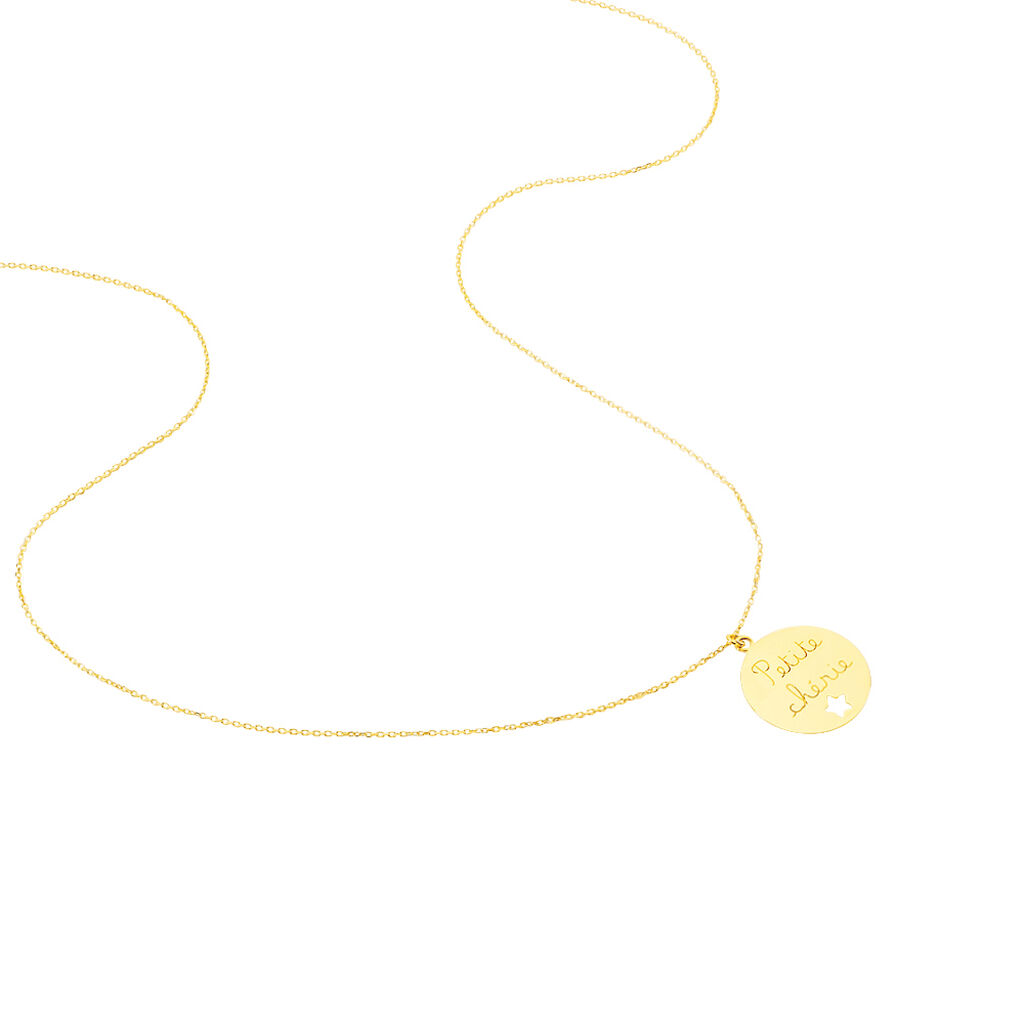 Collier Benedicte Message Or Jaune