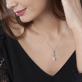 Collier Epiphania Or Blanc Oxyde De Zirconium Et Perle De Culture - Colliers Plume Femme | Histoire d'Or
