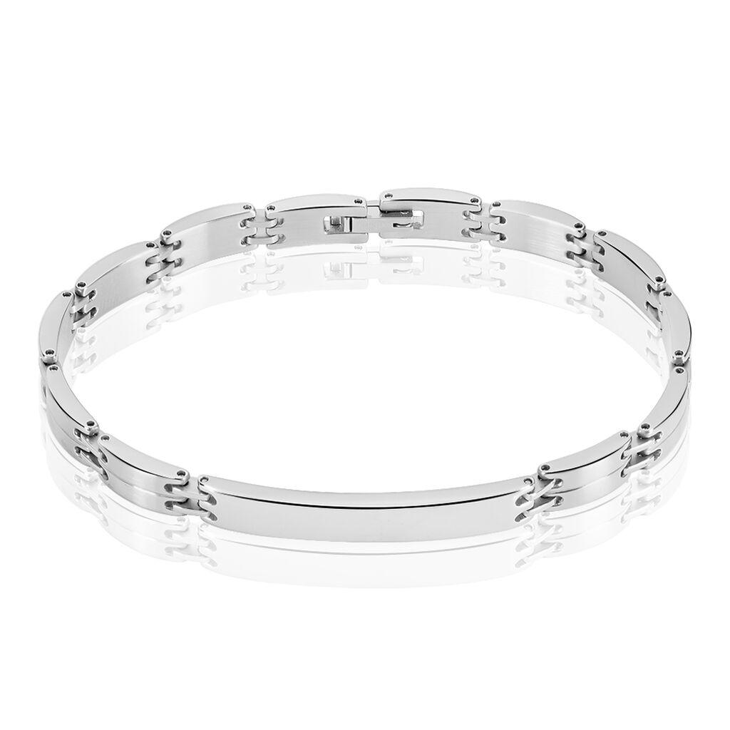 Bracelet Identité Isidore Acier Blanc - Bracelets fantaisie Homme | Histoire d'Or