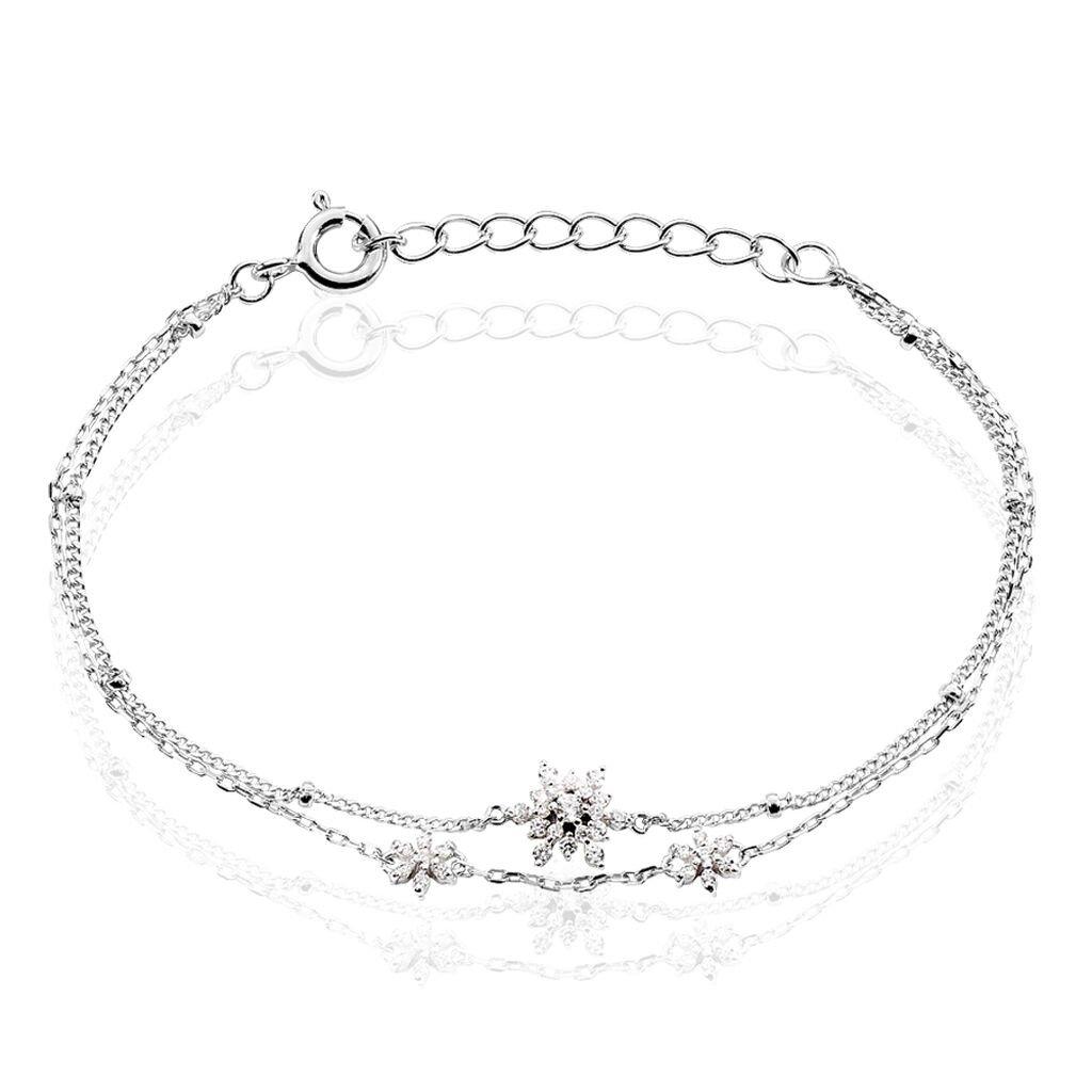 Bracelet Leila Argent Blanc Oxyde De Zirconium - Bracelets fantaisie Femme   Histoire d'Or