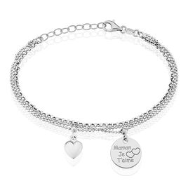 Bracelet Maman D'amour Argent Blanc - Bracelets Coeur Femme   Histoire d'Or