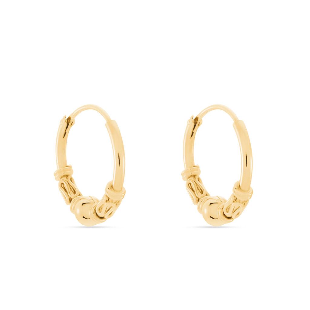 Créoles Tehanie Plaque Or Jaune - Boucles d'oreilles créoles Famille | Histoire d'Or