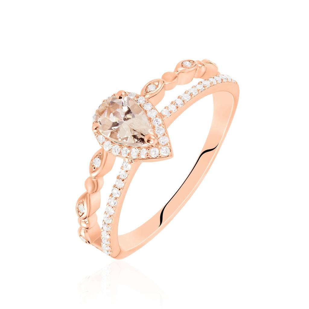 Bague Tomy Or Rose Morganite Et Diamant - Bagues avec pierre Femme   Histoire d'Or