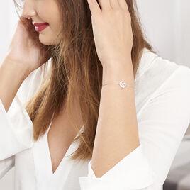 Bracelet Argent Rhodie Trefle Oxyde - Bracelets Trèfle Femme   Histoire d'Or