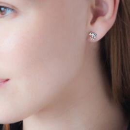 Boucles D'oreilles Puces Fulvie Double Dauphins Or Bicolore - Clous d'oreilles Femme | Histoire d'Or