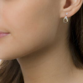 Boucles D'oreilles Pendantes Goutte Zircon Or Jaune Oxyde De Zirconium - Boucles d'oreilles pendantes Femme   Histoire d'Or