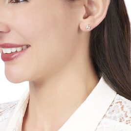 Boucles D'oreilles Puces Sherry Argent Blanc - Boucles d'oreilles fantaisie Femme | Histoire d'Or