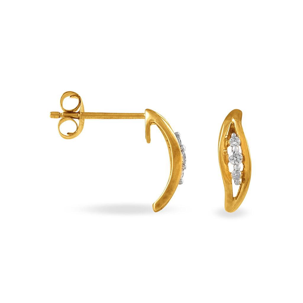 Boucles D'oreilles Puces Gulbeyazae Or Jaune Diamant - Boucles d'Oreilles Plume Femme | Histoire d'Or