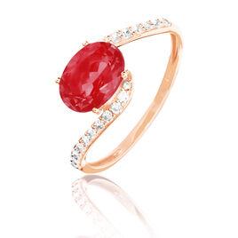Bague Loriane Or Rose Rubis Et Diamant - Bagues avec pierre Femme | Histoire d'Or