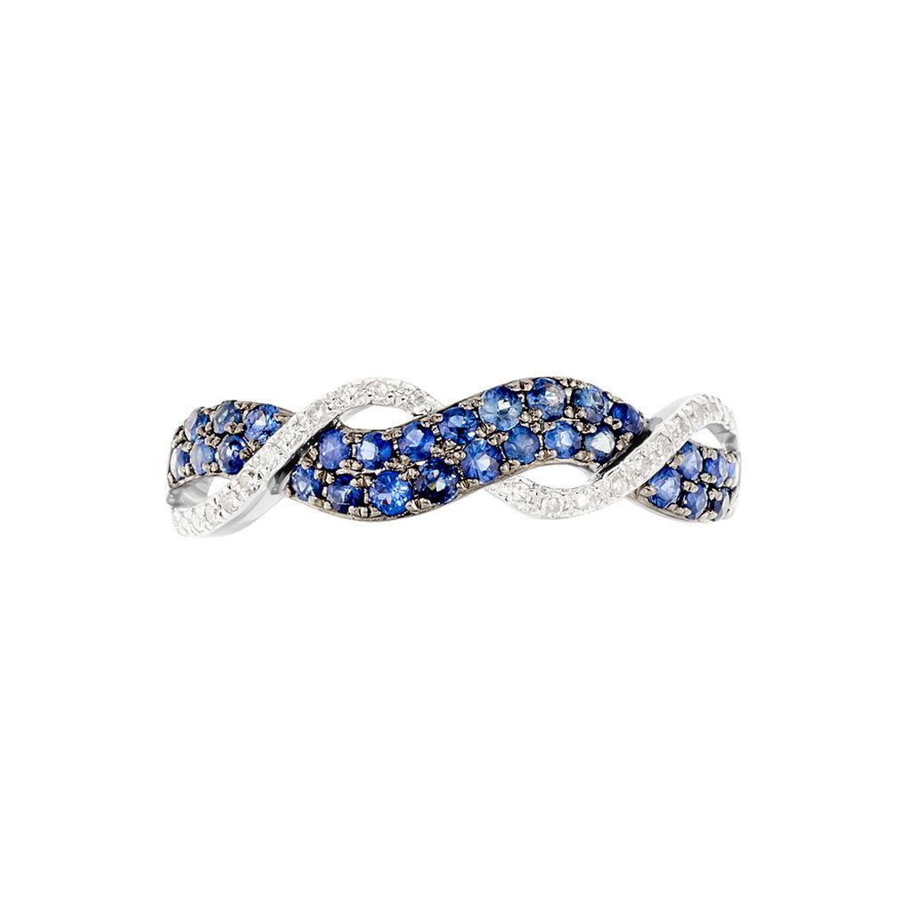 Bague Dimitria Or Blanc Saphir Et Diamant - Bagues avec pierre Femme   Histoire d'Or