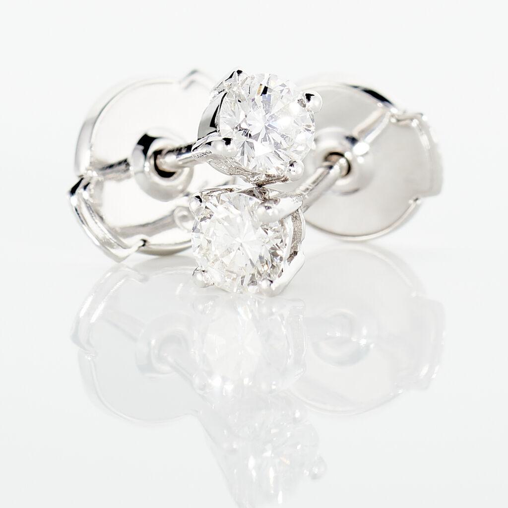 Boucles D'oreilles Or Blanc Victoria Puces Diamants - Clous d'oreilles Femme | Histoire d'Or