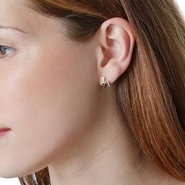 Boucles D'oreilles Puces Or Jaune Quartz Et Diamant - Clous d'oreilles Femme   Histoire d'Or
