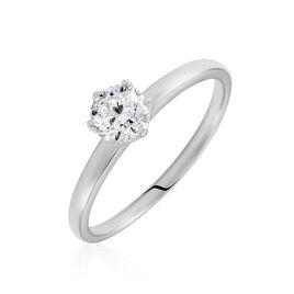 Bague Solitaire Natalia Or Blanc Diamant Synthetique - Bagues avec pierre Femme   Histoire d'Or