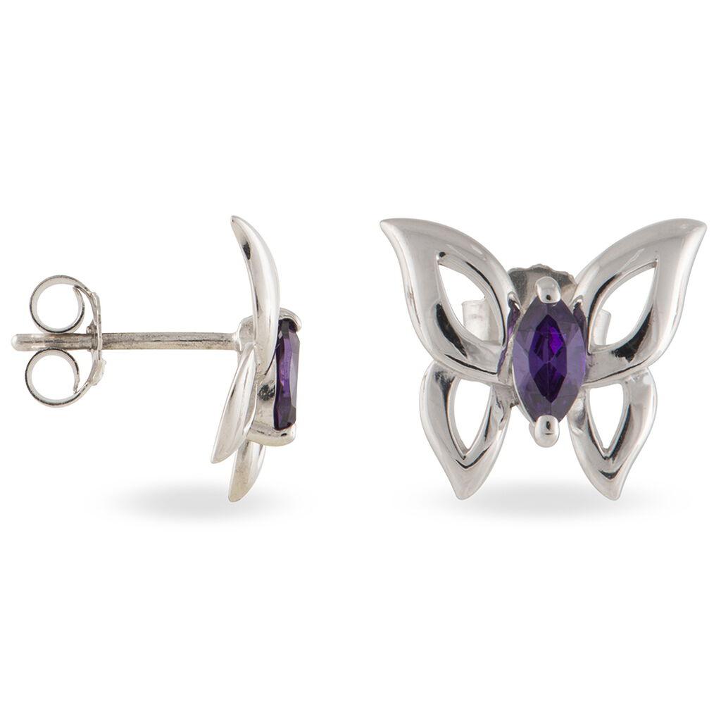 Boucles D'oreilles Puces Argent Blanc Oxyde De Zirconium - Boucles d'Oreilles Papillon Femme   Histoire d'Or