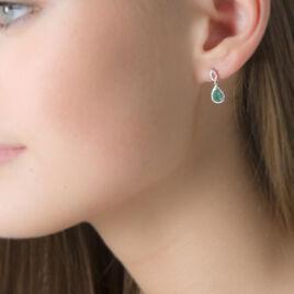 Boucles D'oreilles Puces Sissi Or Blanc Diamant Et Emeraude - Clous d'oreilles Femme | Histoire d'Or