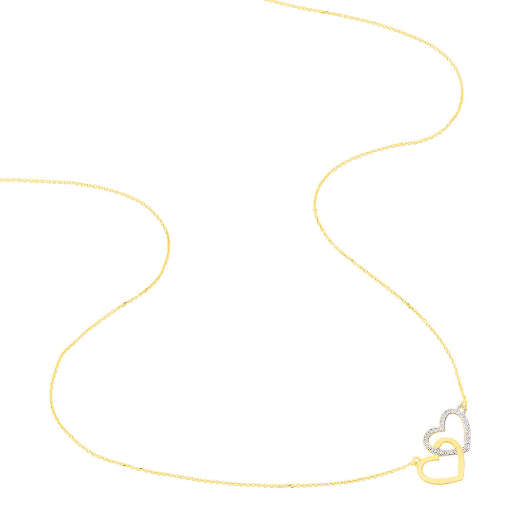 Collier Double Coeur Satines Or Bicolore