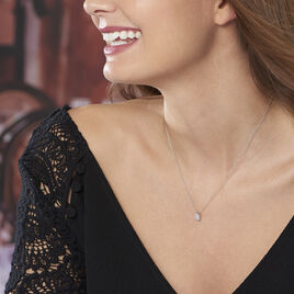 Collier Adham Or Blanc Oxyde De Zirconium - Bijoux Femme | Histoire d'Or