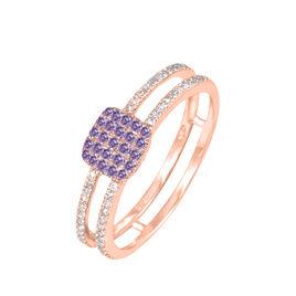 Bague Aude Or Rose Amethyste Et Diamant - Bagues avec pierre Femme   Histoire d'Or