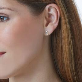 Boucles D'oreilles Puces Carsta Or Jaune Diamant - Clous d'oreilles Femme   Histoire d'Or