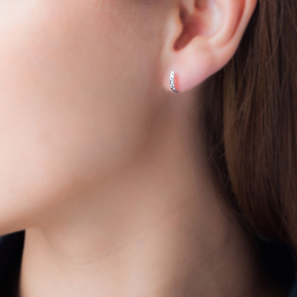 Créoles Lileae Barrette Or Blanc - Boucles d'oreilles créoles Femme   Histoire d'Or