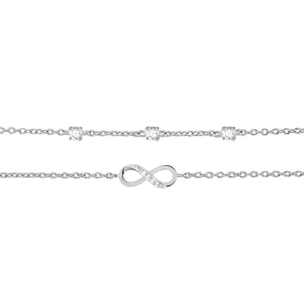 Chaîne De Cheville Aurelio Argent Blanc Oxyde De Zirconium - Bijoux Infini Femme   Histoire d'Or