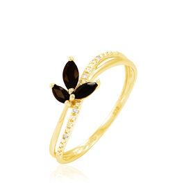 Bague Maura Or Jaune Quartz Et Diamant - Bagues avec pierre Femme   Histoire d'Or