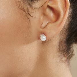 Boucles D'oreilles Puces Lucinda Or Blanc Perle De Culture Et Oxyde - Clous d'oreilles Femme   Histoire d'Or