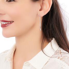Boucles D'oreilles Pendantes Katell Argent Blanc - Boucles d'oreilles fantaisie Femme   Histoire d'Or