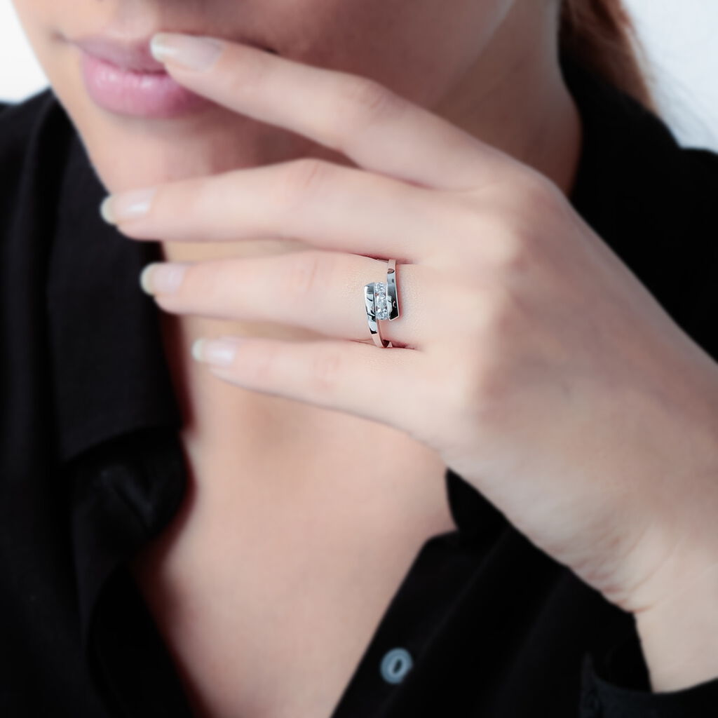 Bague Trilogie Or Blanc Diamant