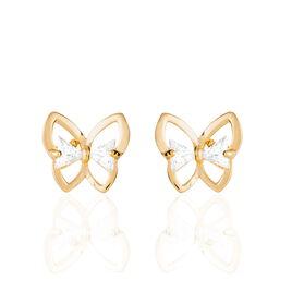 Boucles D'oreilles Pendantes Jelissa Plaque Or Oxyde De Zirconium - Boucles d'Oreilles Papillon Femme | Histoire d'Or
