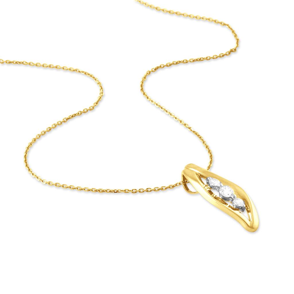 Collier Junon Or Jaune Diamant - Colliers Plume Femme   Histoire d'Or