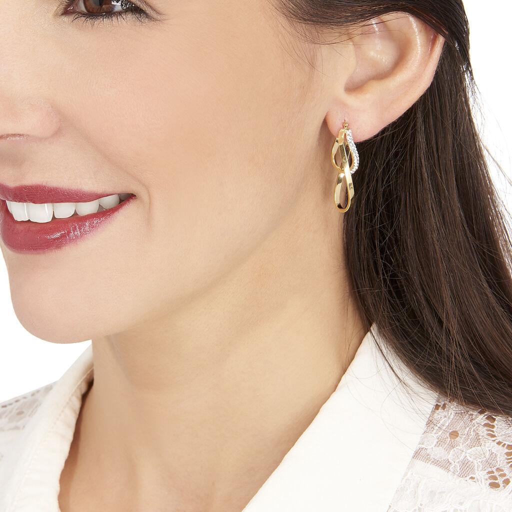 Créoles Luna Vrilees Or Jaune Strass - Boucles d'oreilles créoles Femme   Histoire d'Or