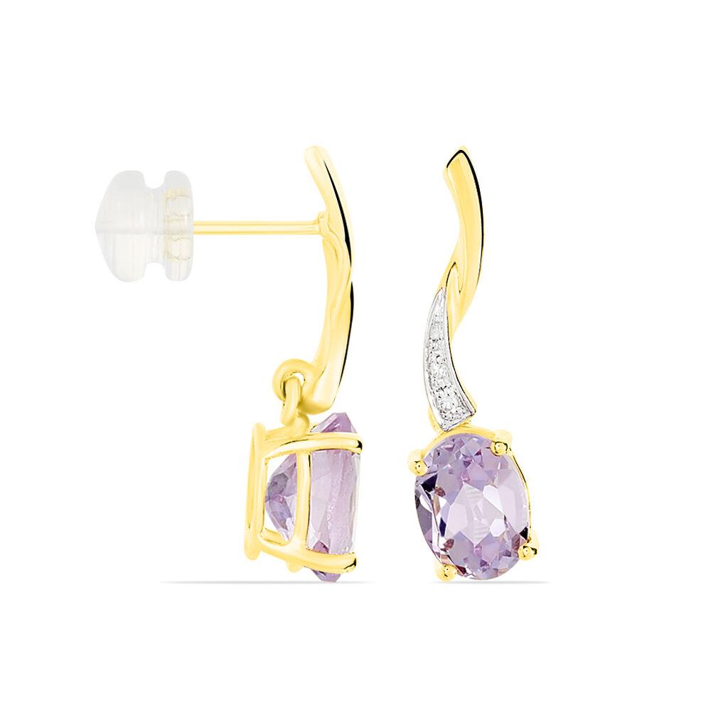 Boucles D'oreilles Pendantes Or Jaune Amethyste Et Diamant - Boucles d'Oreilles Coeur Femme   Histoire d'Or