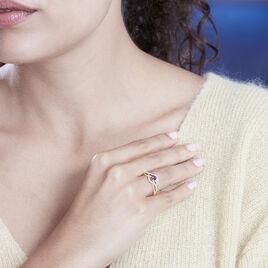 Bague Andreana Or Rose Rhodolite Et Oxyde De Zirconium - Bagues solitaires Femme | Histoire d'Or