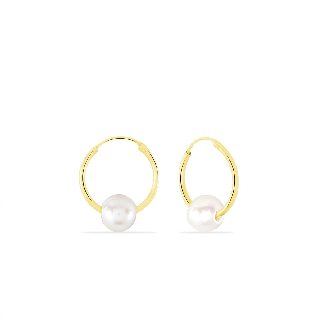 Créoles Baroque Baroques Or Jaune Perle De Culture - Boucles d'oreilles créoles Femme | Histoire d'Or