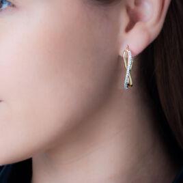 Créoles Hildie Vrillees Fils Carres Or Jaune Strass - Boucles d'oreilles créoles Femme | Histoire d'Or