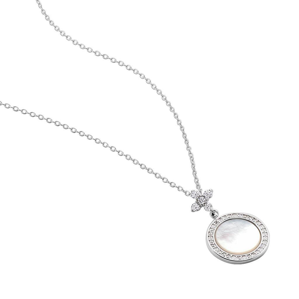 Collier Hacena Argent Blanc Oxyde De Zirconium - Colliers Trèfle Femme   Histoire d'Or