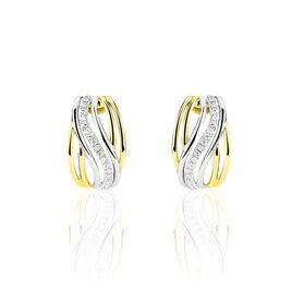 Boucles D'oreilles Puces Paige Or Bicolore Diamant - Clous d'oreilles Femme   Histoire d'Or