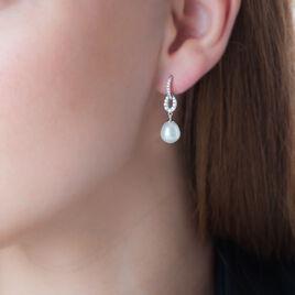 Boucles D'oreilles Pendantes Tiphaine Argent Perle De Culture - Boucles d'oreilles pendantes Femme | Histoire d'Or